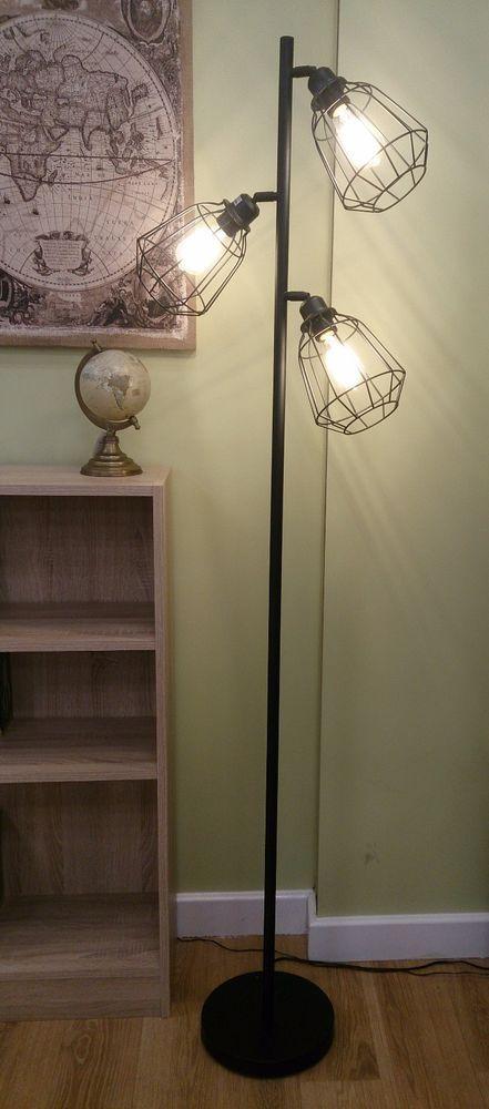 178cm Vintage Retro 3 Lights Cage Floor Lamp Matt Black With Bulbs