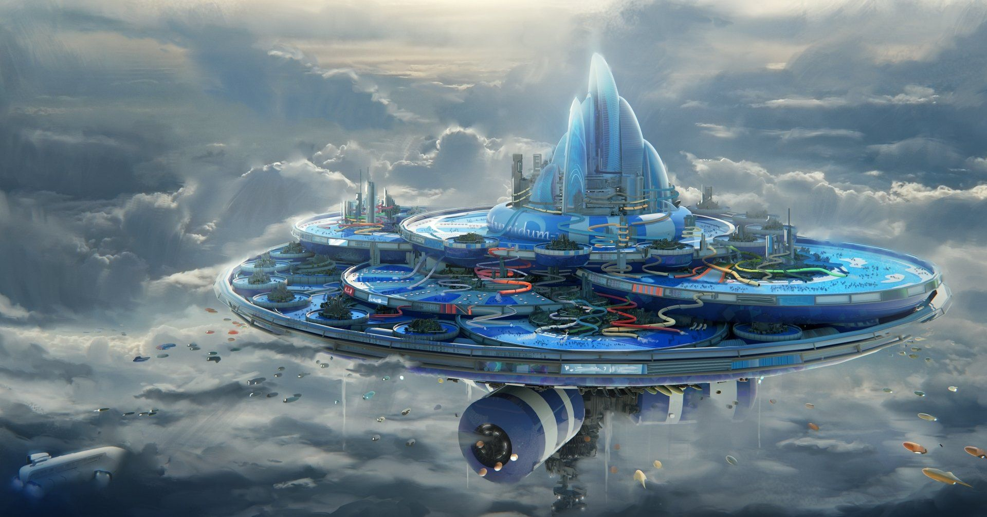 Sci Fi City Floating Island Cloud Aircraft Futuristic Wallpaper Sci Fi City Sci Fi Wallpaper Futuristic City