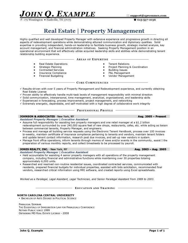 property manager resume summary