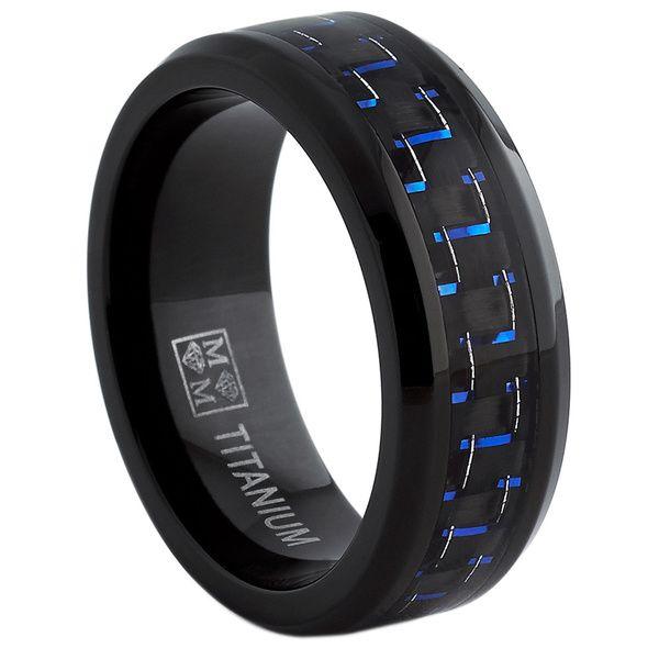 titan herren schwarz und blau kohlefaser passform band 8mm titanium wedding ring