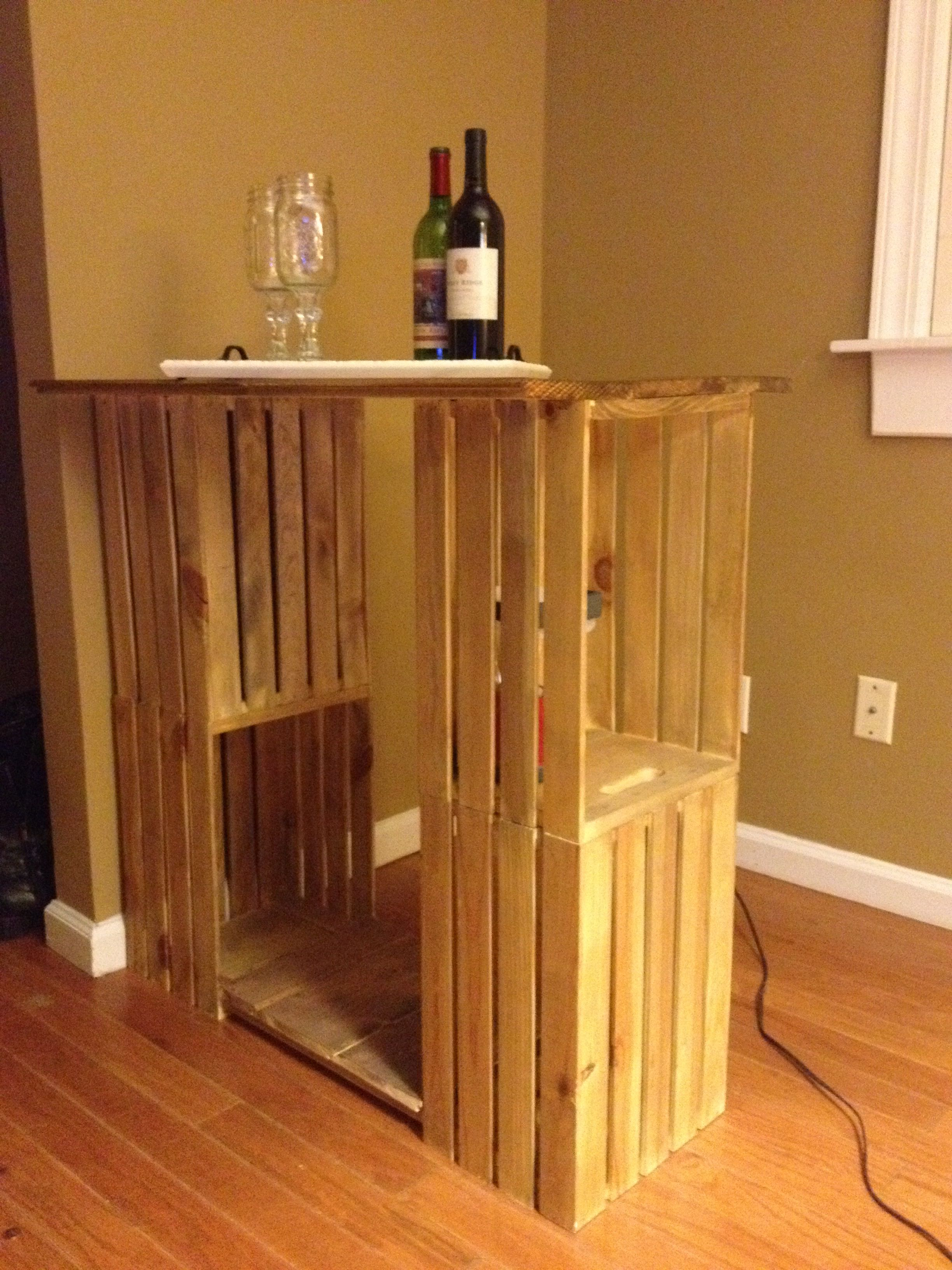 Bartable Made From Wooden Crates Bought At Michaels And Left Over