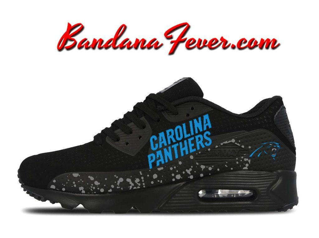 hot sale online 9f3a1 b47f1 Custom Panthers Nike Air Max 90 Shoes Ultra Black,  oneCarolina,  Panthers,   am90, by Bandana Fever
