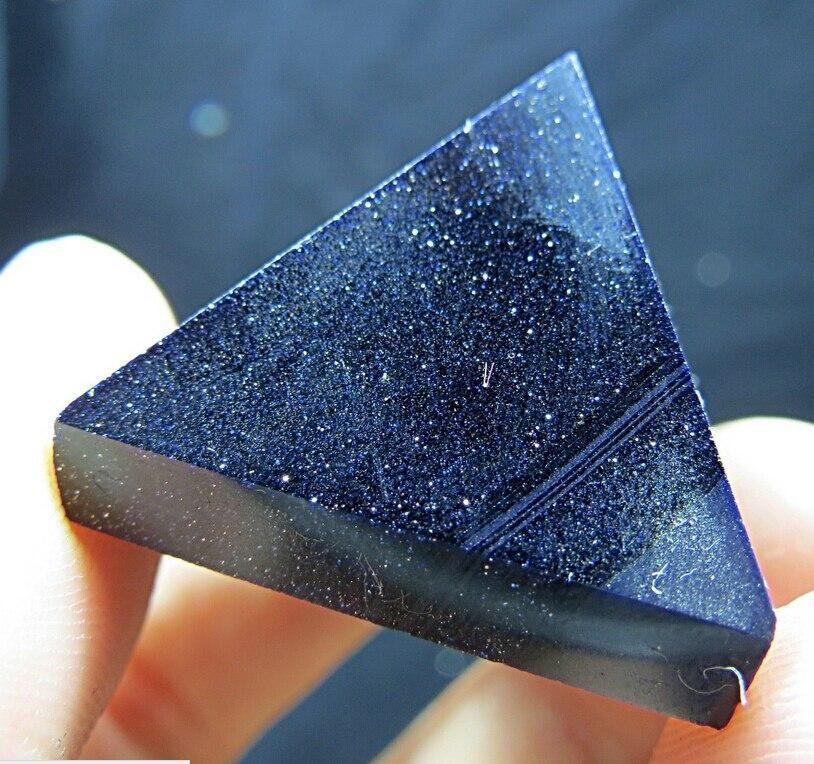 Blue Beam Goldstone Crystal Pyramid Stone