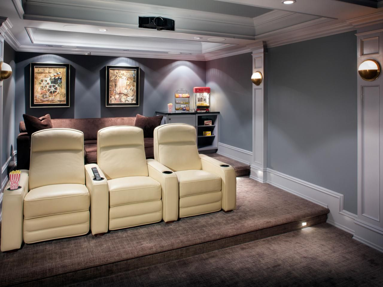 Simple theater with hidden projector in ceiling. The way ...