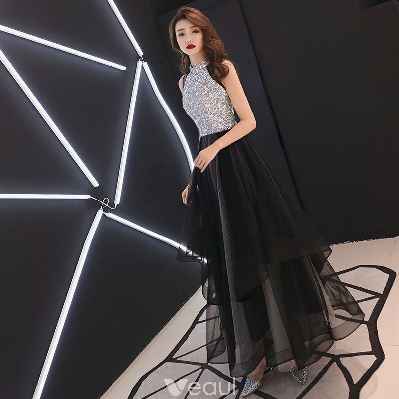Modern / Fashion Black Evening Dresses 2019 A-Line / Princess Scoop Neck Sequins Sleeveless Floor-Length / Long Formal Dresses