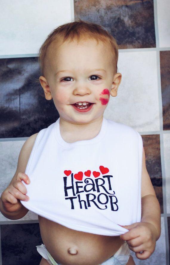 Valentine Embroidered Baby Bib Heart Throb by CuddlyStitchesbycjk