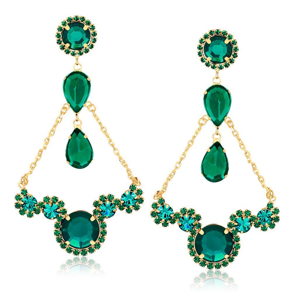 21396c1bf79aa Maxi Brinco com pedras e cristais verdes folheado em ouro 18k - Francisca  Joias