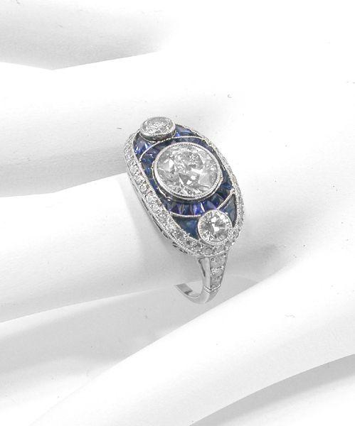 Art Deco Old Mine Diamonds Sapphire Platinum Engagement Ring | New York Estate Jewelry | Israel Rose