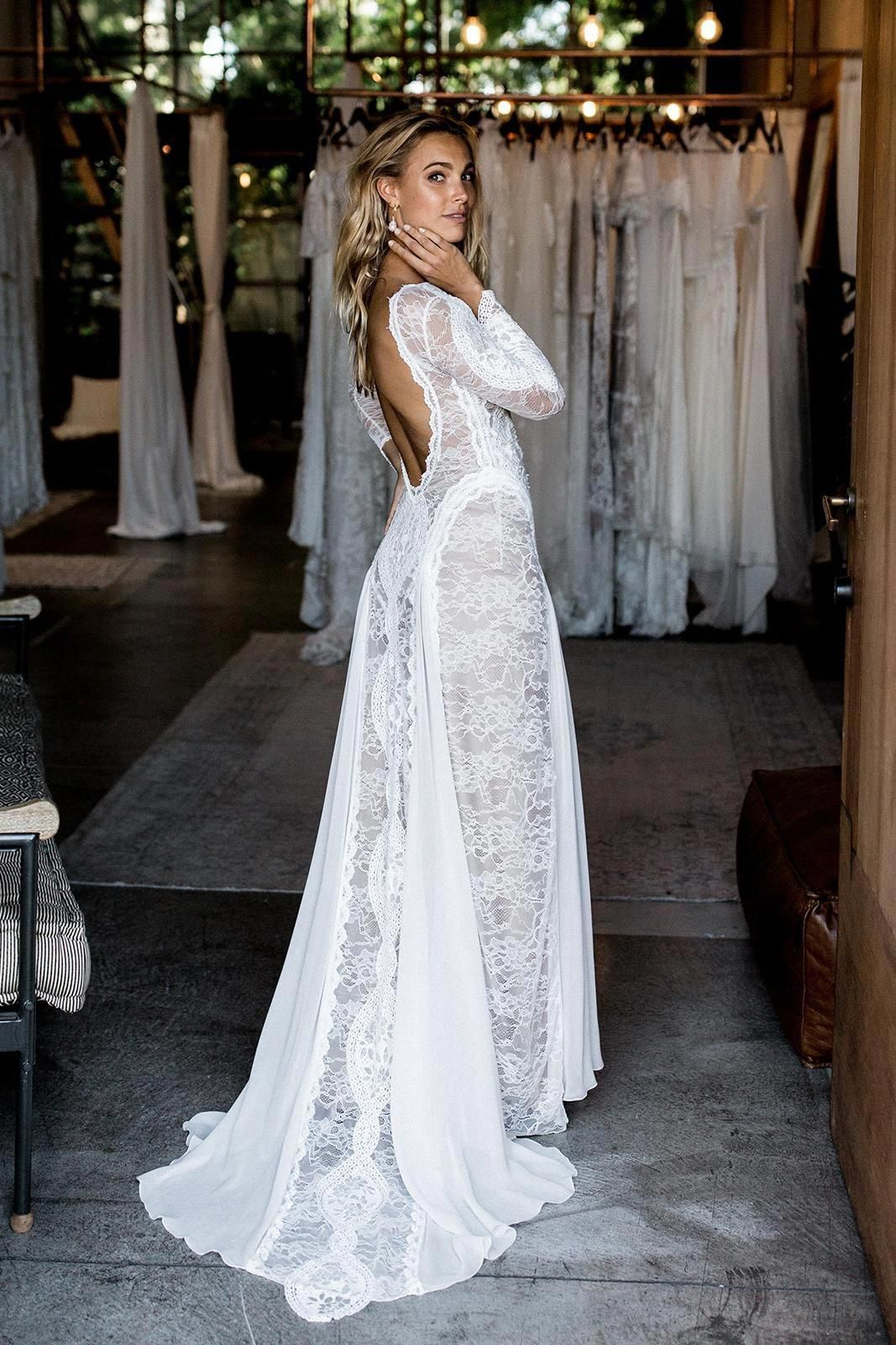 With A Unique Combination Of French And Japanese Lace Paired With A Flattering F Bohemian Wedding Dress Lace Wedding Gowns Lace Long Sleeve Wedding Dress Boho