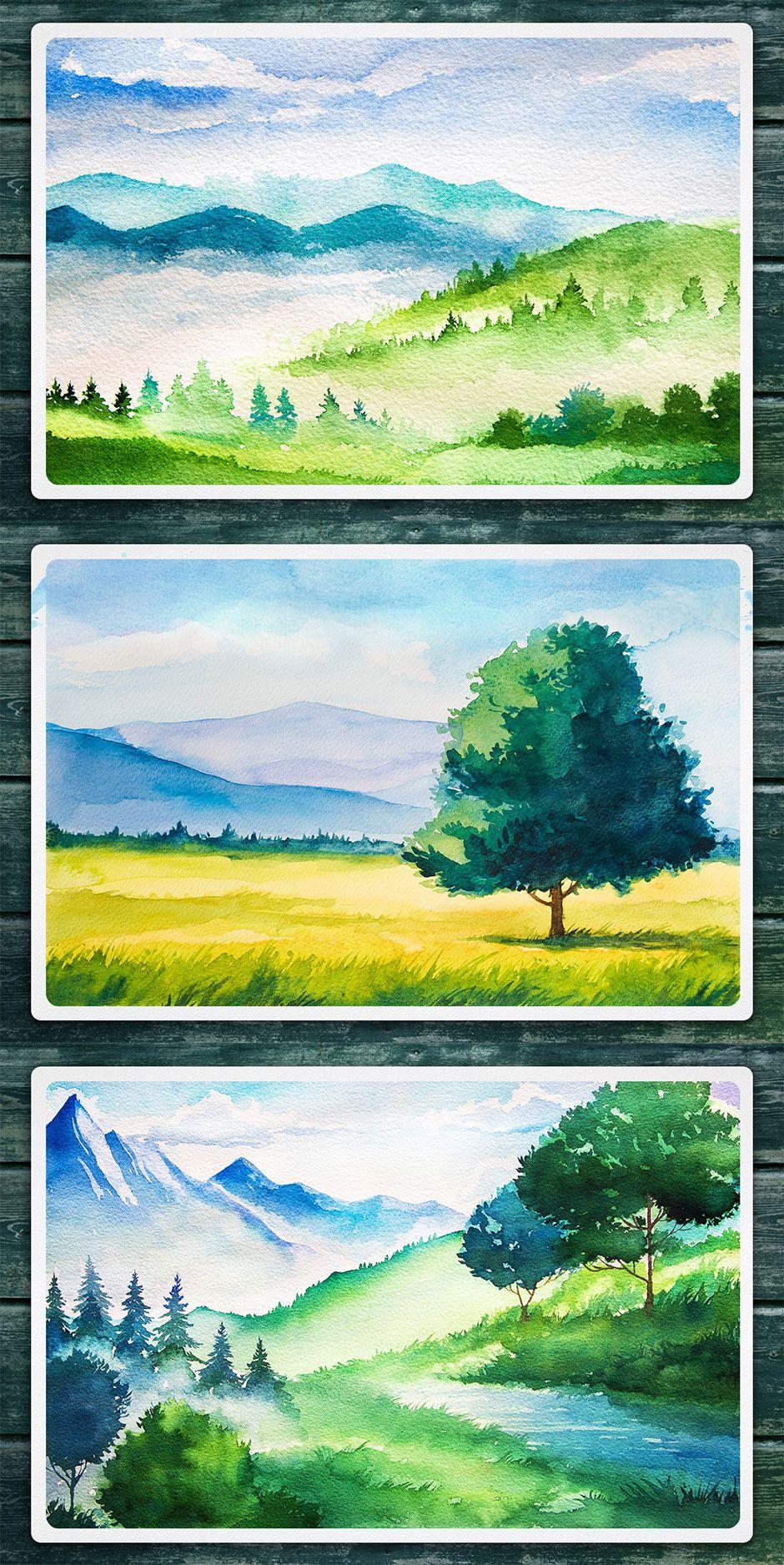 Vector Watercolor Landscapes Vol 3 In 2020 Watercolor Landscape