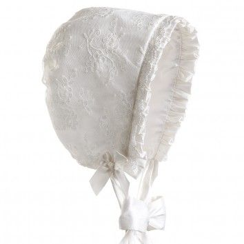 Baby Girls Ivory Silk & Lace Bonnet with Frills