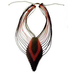 Macramé necklace - feather,craft.Minas Gerais,BR