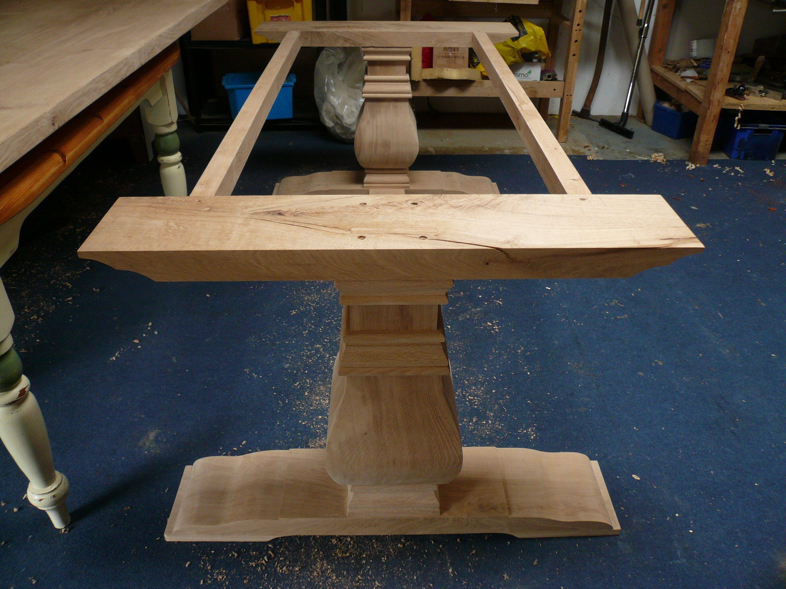 Hand Turned Table Legs | Bespoke Handmade Table In Solid Oak With Bulbous  Legs