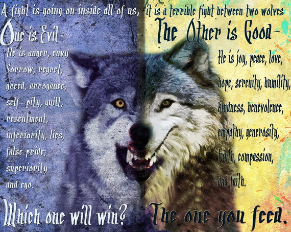 The one you feed, cherokee legend,wolf art,painting,poster