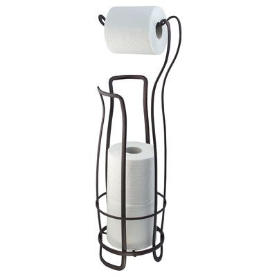 InterDesign Axis Free Standing Toilet Paper Holder Extra Toilet Roll Storage