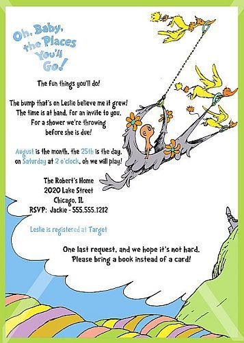 dr. seuss, oh baby the places you'll go, baby shower invitation, Baby shower invitations