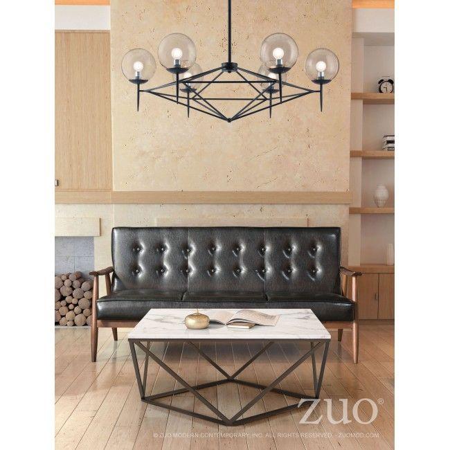 Carmine Ceiling Lamp Black Faux Leather Sofa Faux
