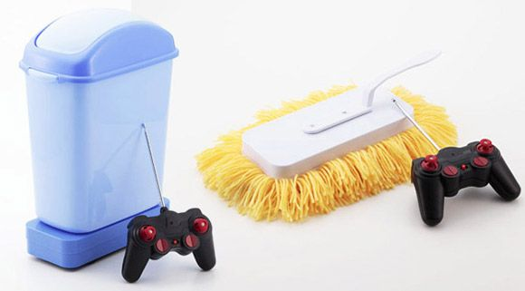 Remote-Controlled Mop and Trash Bin