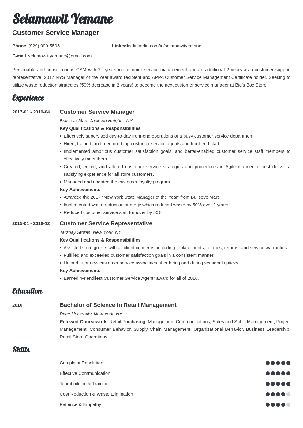 customer service manager resume example template valera in