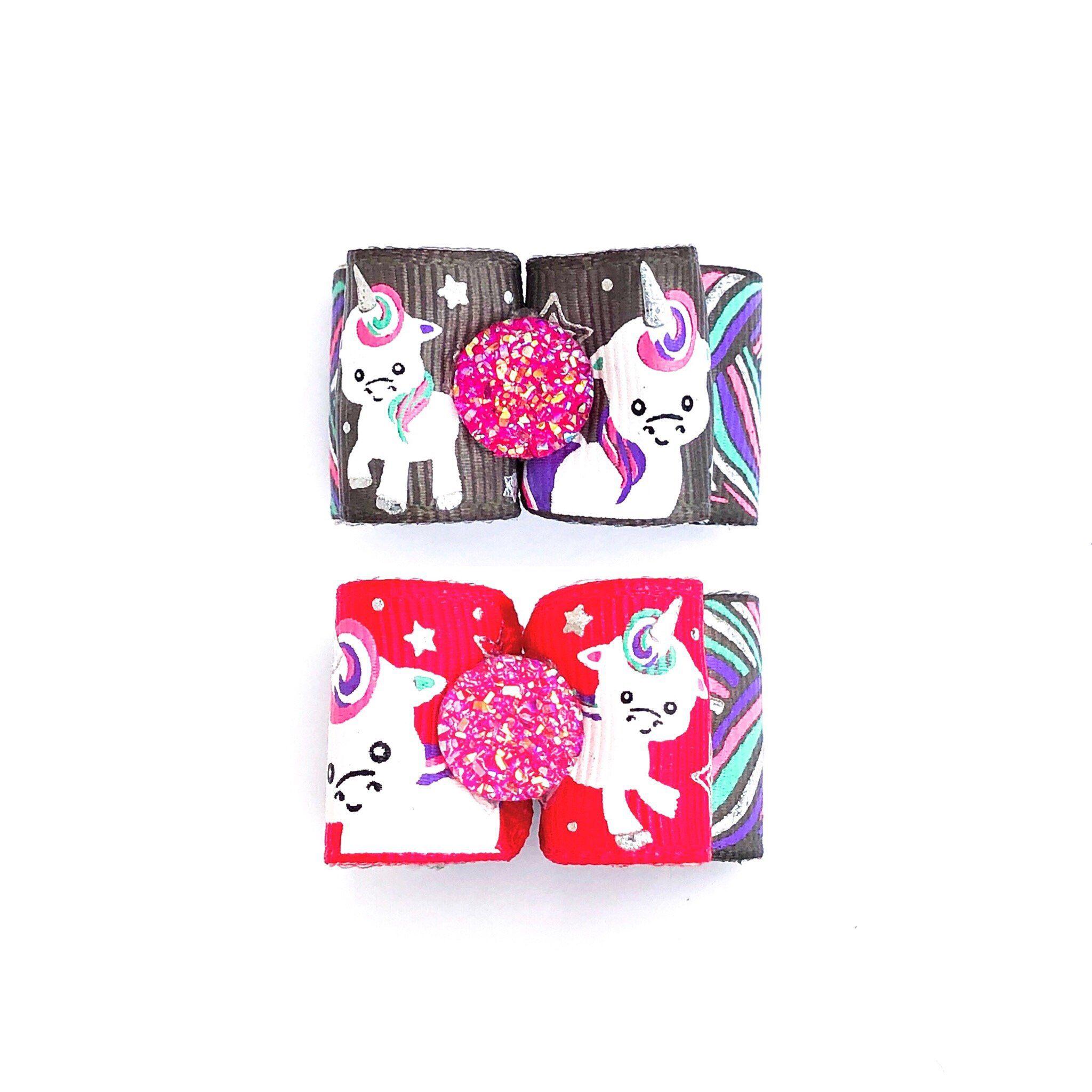 Dog Hair Bows- Unicorn Dog Bow Pink Unicorn Rainbow Braided Hair Princess Topknot Bow Barrette Elastic Bands
