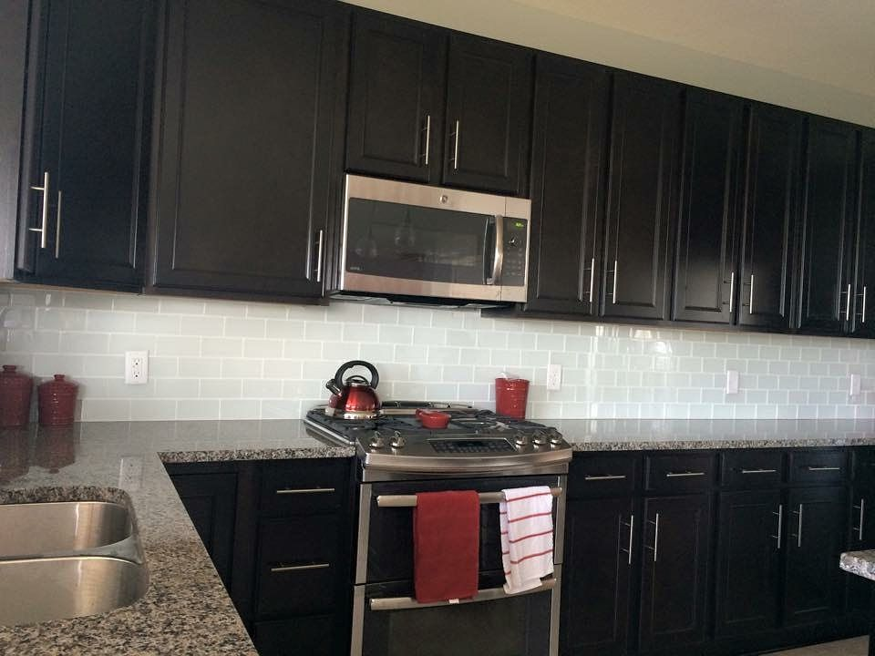 White Glass Subway Tile In 2020 Backsplash With Dark Cabinets