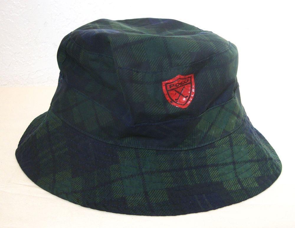 6304bdae69b Vintage Ralph Lauren Hat POLO GOLF Plaid Bucket RARE Green Blue Crest  Reverse  PoloGolfRalphLauren  BucketHat