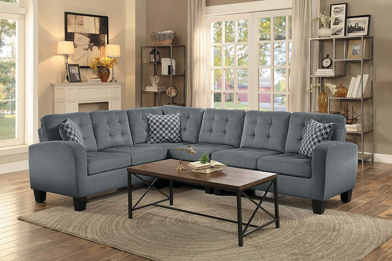 Homelegance Sinclair L Shaped 2 Piece Sectional Sofa With Tufted Accents And Three Geometric Pattern Toss P Grey Sectional Sofa Grey Sectional Fabric Sectional [ 1000 x 1500 Pixel ]