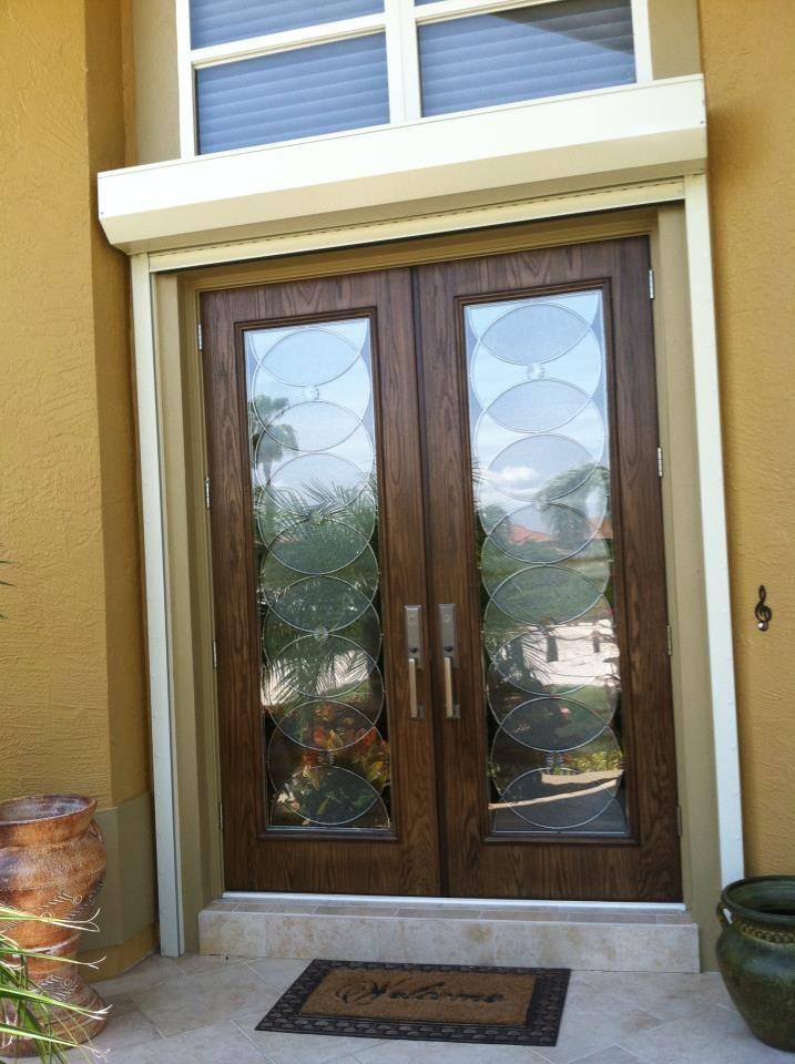 Custom decorative door glass inserts radiance circle for Front door glass insert