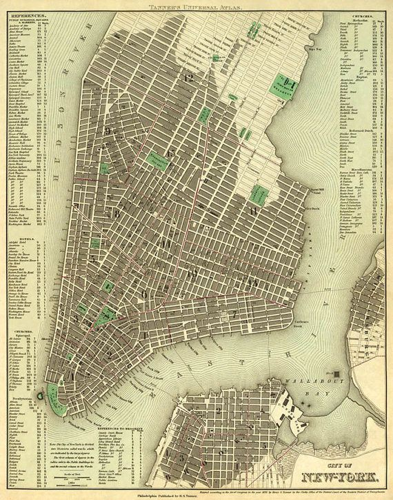 New York City Map Old Map Of New York City Print NYC Old Map - Antique maps nyc