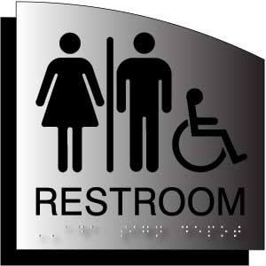 Ada Signs For Unisex Wheelchair Accessible Restrooms Brushed Aluminum With Radius Curve Ada Signs Ada Signage All Gender Restroom