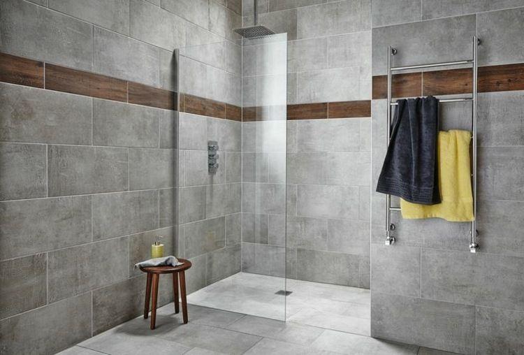 douche avec carreaux de verre carrelage gris mural et de sol id es int - Carrelage Douche Salle De Bain