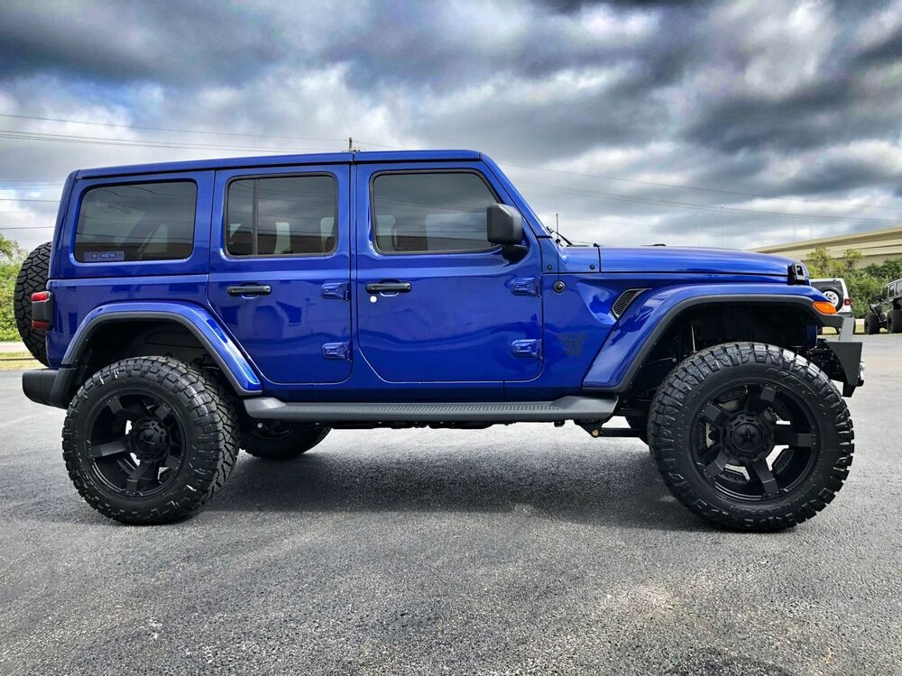Ebay Advertisement 2018 Jeep All New Wrangler Unlimited Ocean Blue Jl Sahara Lifted Leather Hardtop Ocean Blue J Jeep Jl Blue Jeep Rubicon Blue Jeep Wrangler