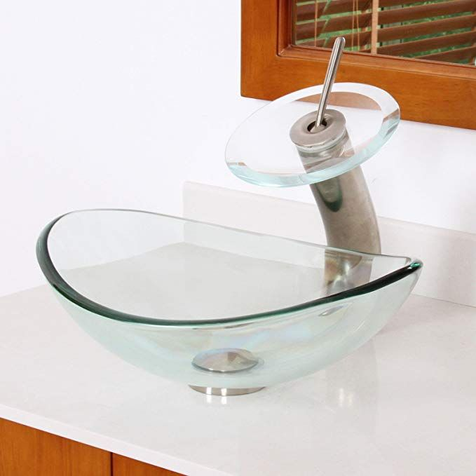 Elite Unique Oval Clear Tempered Bathroom Glass Vessel Sink Amp Brushed Nickel Waterfall Faucet