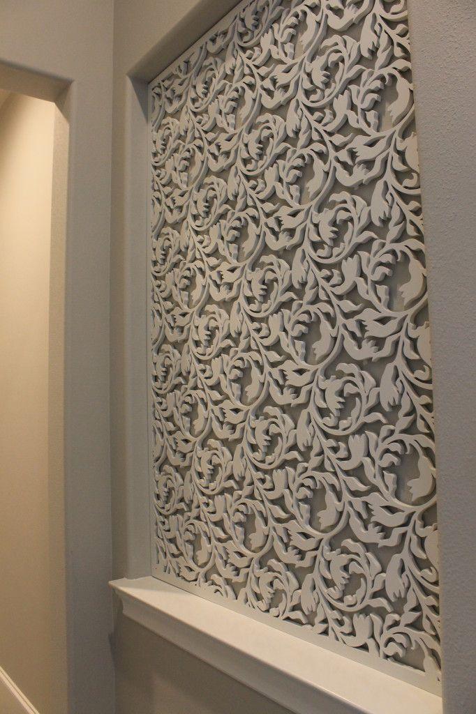 Laser cut wood panel accent wall Misc Pinterest