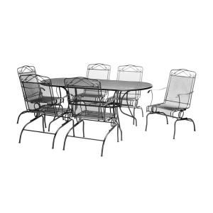 Black Wrought Iron 7 Piece Action Patio Dining Set W3929 A 7bk At The Home Depot Mobile All