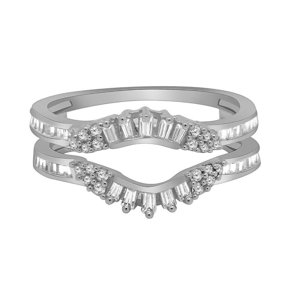 0 34ct Natural Diamond Women S Wrap Guard Wedding Ring In 14k White Gold Size 7 Omegajeweller White Gold Brilliant Diamond Ring Round Diamond Engagement Rings