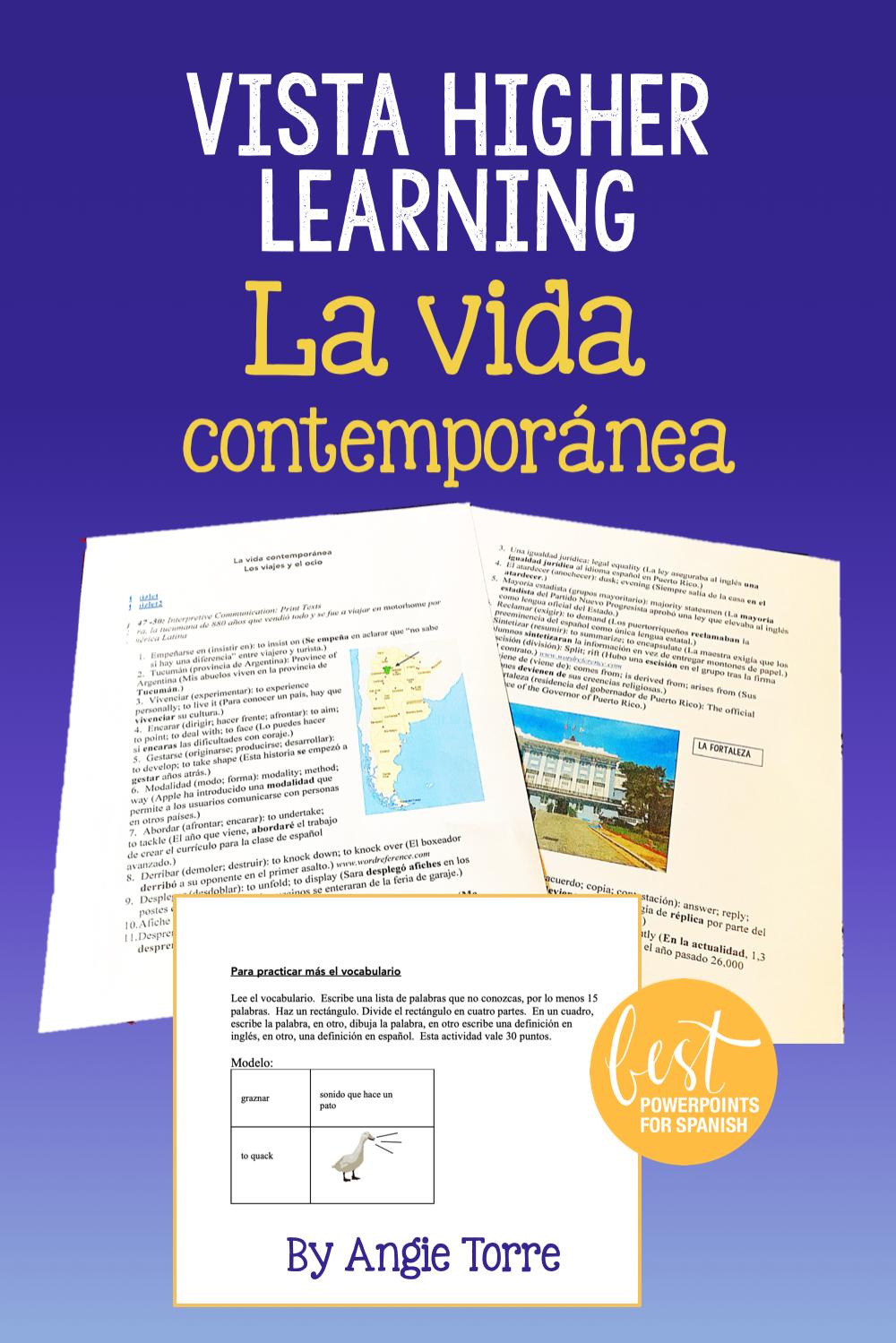 Ap Spanish Vocabulary For La Vida Contemporanea For Vista Higher