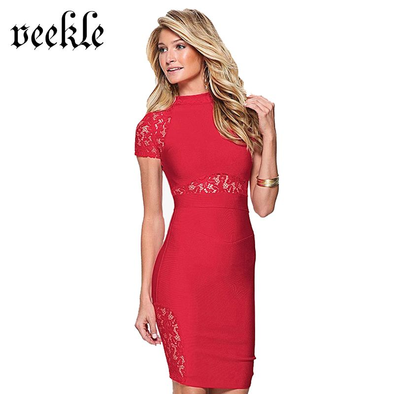 VEEKLE Sexy See Through Mini Dress Short Lace Sleeve Tight Bodycon Tunic Party  Dresses Club Wear Casual Summer 2017 For Ladies f15367abc0b2