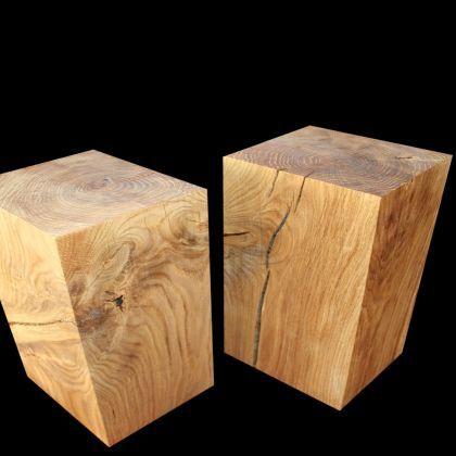 Holzklotz hocker eiche 45cm holz stuhl seating for Holzklotz beistelltisch