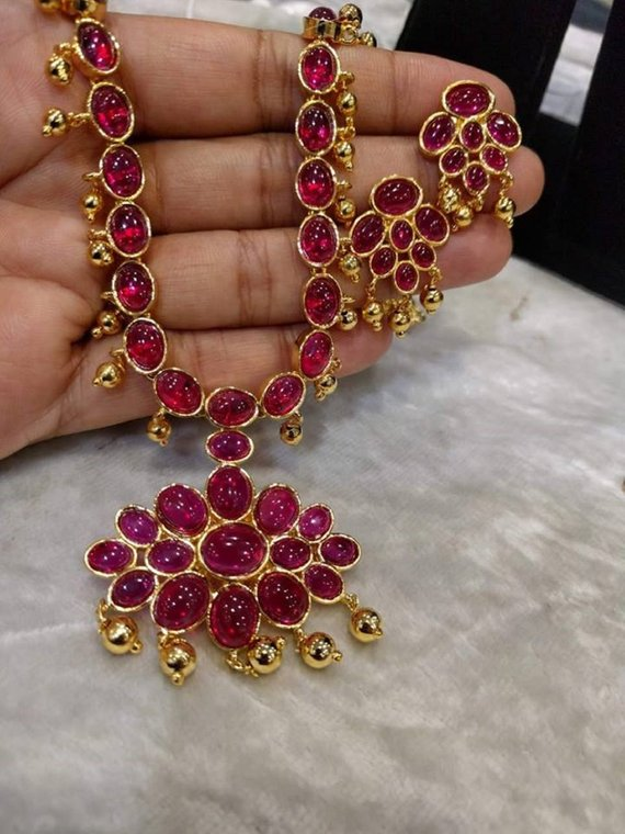 6b05c6127 Shining & Sparkling Ruby Necklace Set with Earrings (1gm Gold) -  Traditional and Temple Indian Jewel