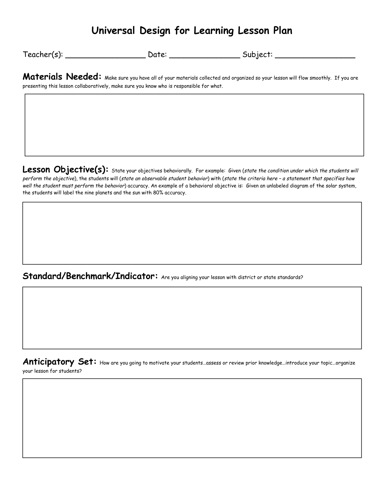 Civics Lesson Plan Templates Florida Standards Preschool Blank