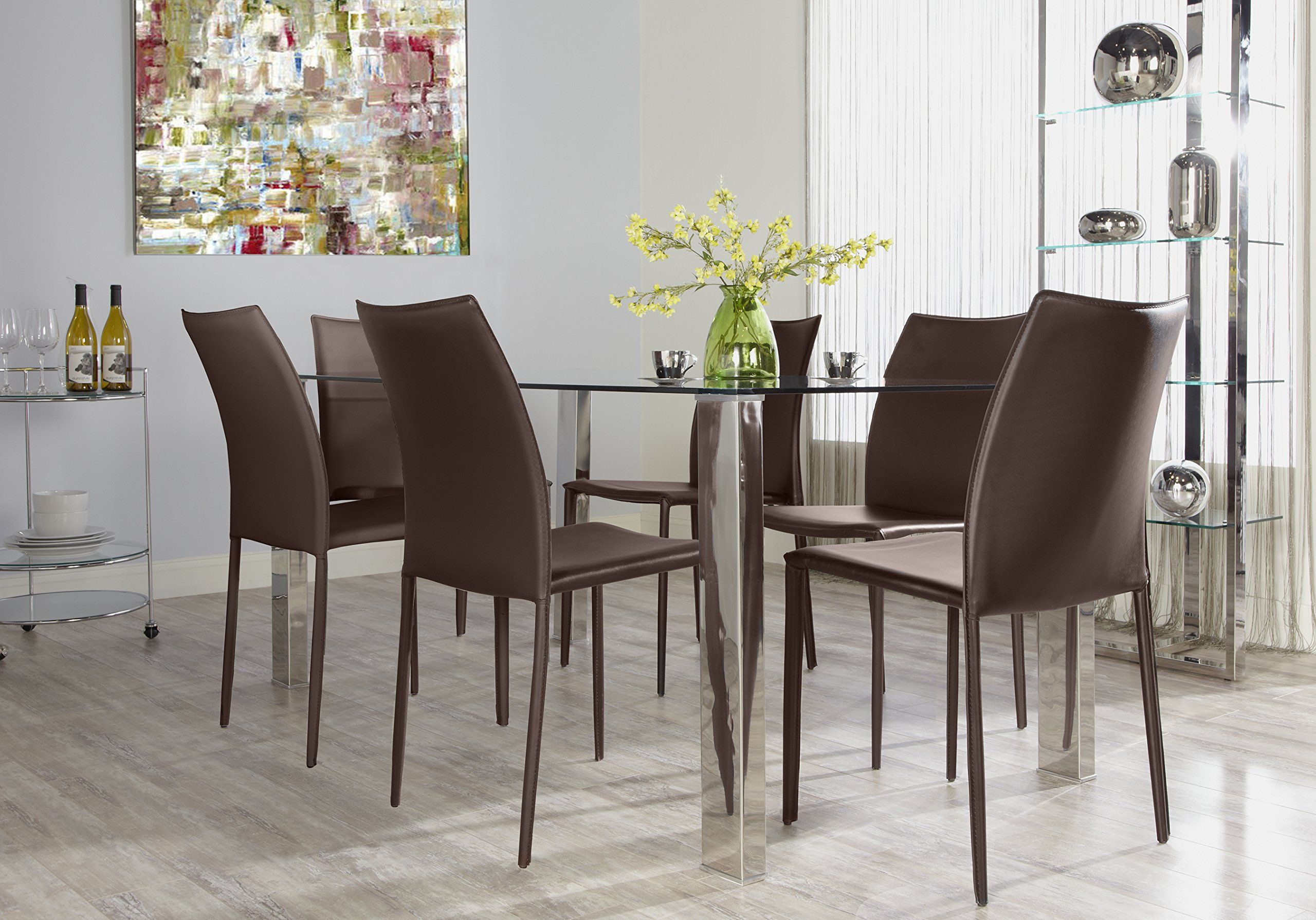 Euro Style Dalia Leather Stackable Dining Side Chair Set