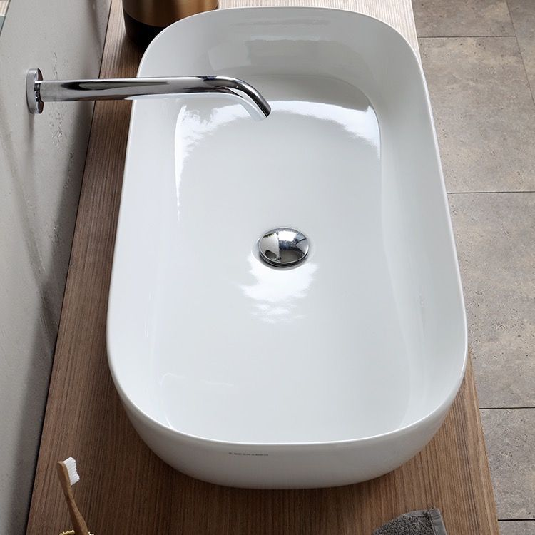 Oval White Ceramic Trough Vessel Sink Bathroom Sink Sink Vessel Sink