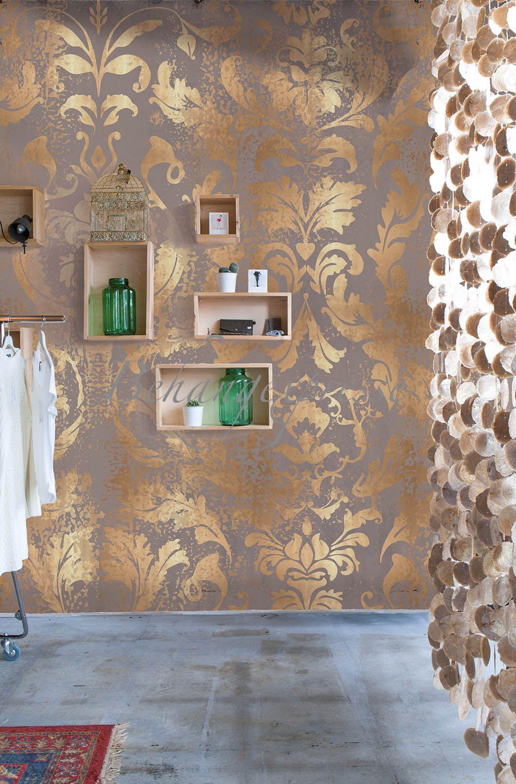 Vlies Foto Tapete Wandbild Barock Muster Ornament braun