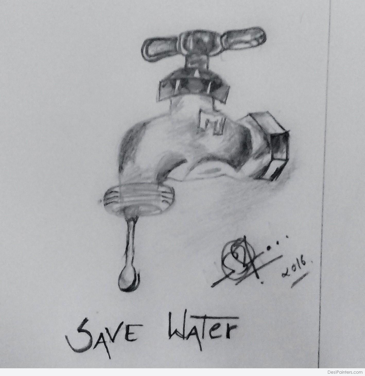 Poster Drawing Water Conservation For Free Download