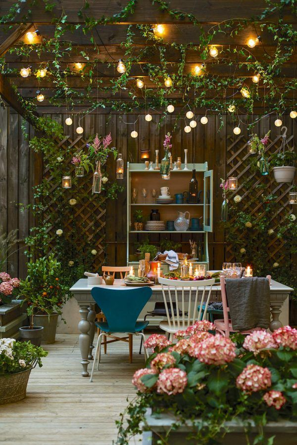 Rustic Pergola And String Lights Backyard Ideas