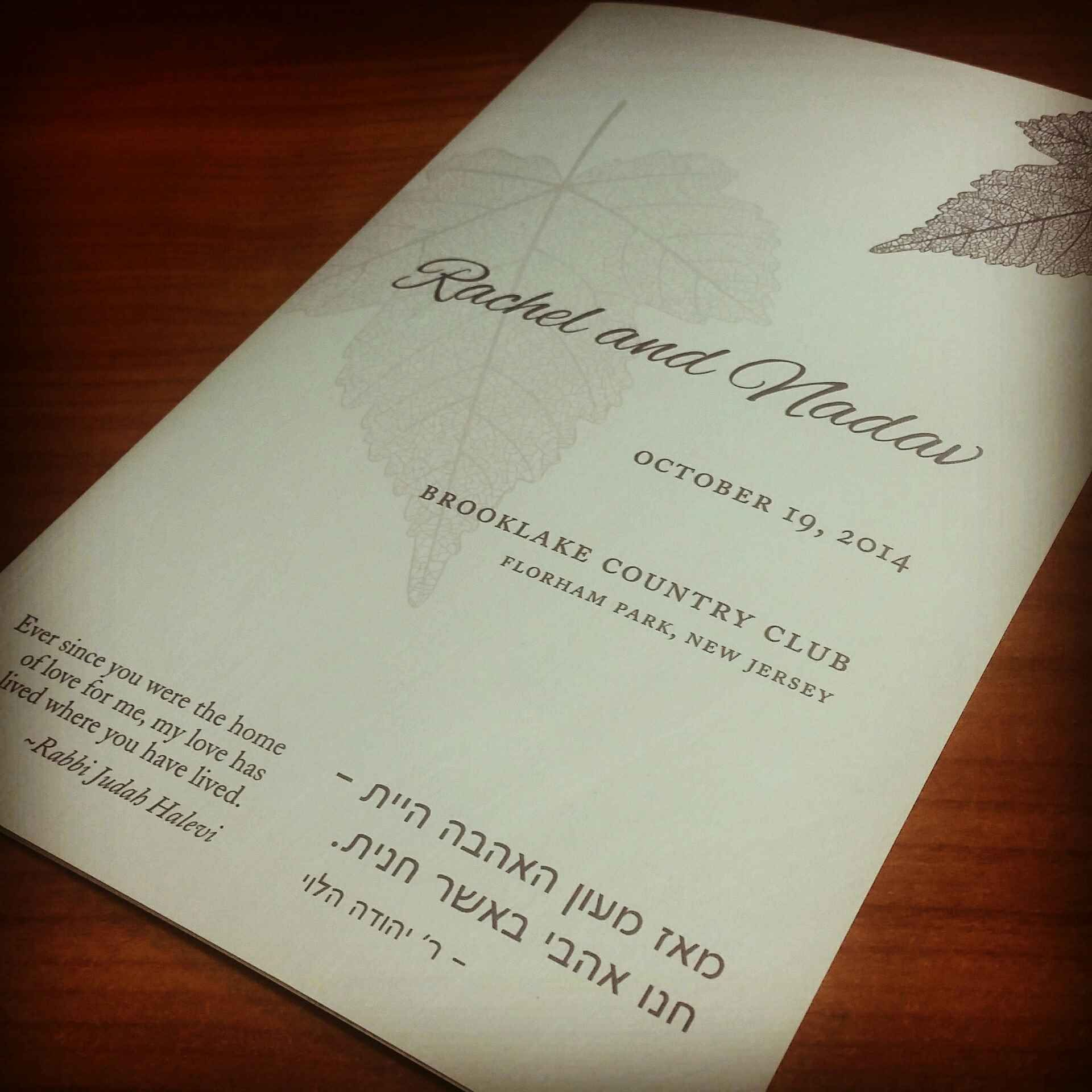 Bilingual wedding program in our autumn design. | Invitations by ...