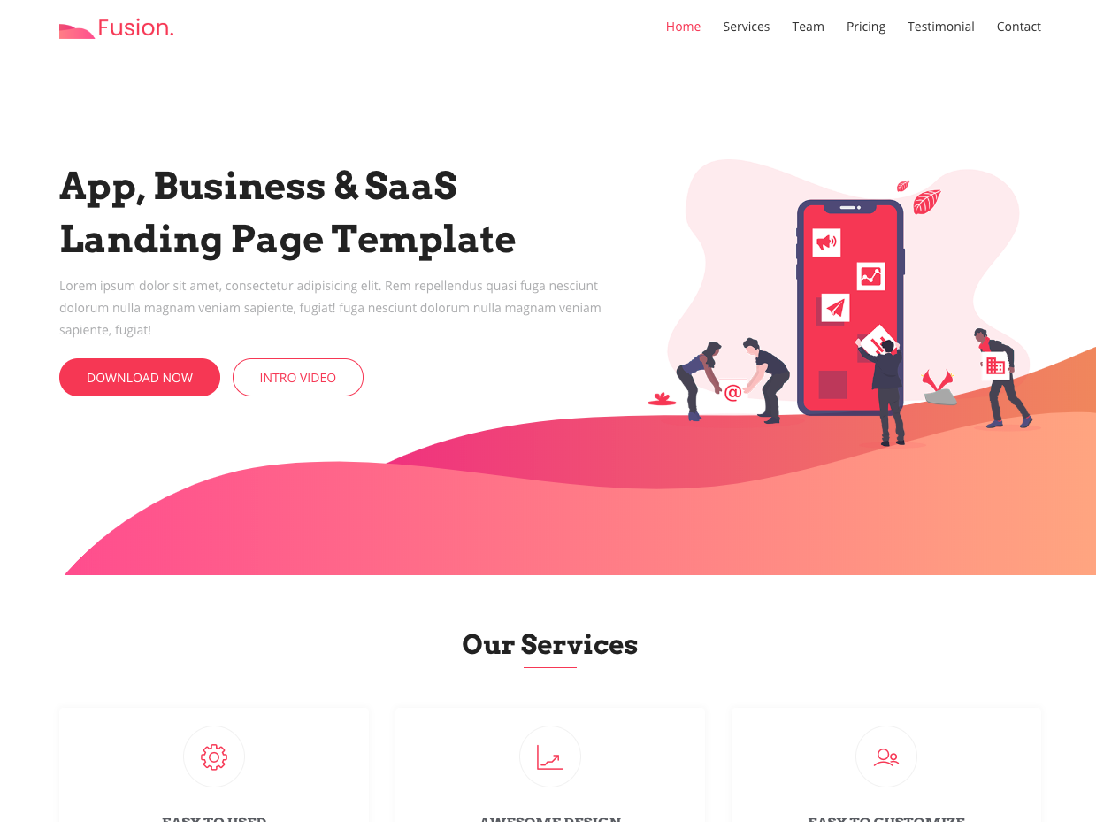 Fusion Free Bootstrap 4 Landing Page Template Page