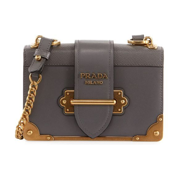 Cahier Small Leather Trunk Crossbody Bag By Prada Calf With Saffiano Trim And Brassy Hardware Embellishment