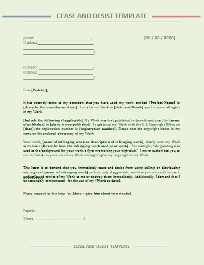 Cease And Desist Letter Template  Legal    Letter
